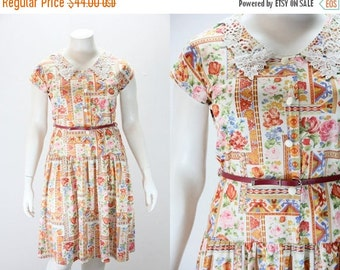 SALE 40% off XXL Vintage Dress - French Made Floral and Tribal Print