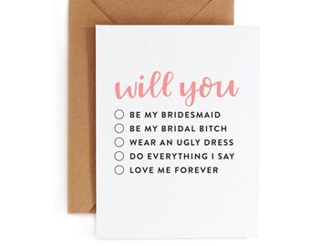 Bridesmaid Card - Bridal Party Card - Wedding Party Card - Be My Bridesmaid Card - Fill In Card
