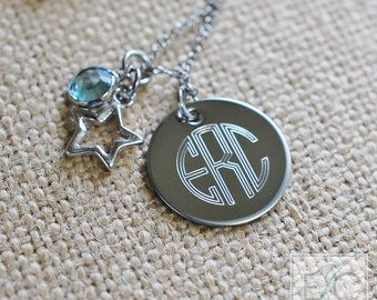 engraved monogram birthstone and charm necklace | circle font
