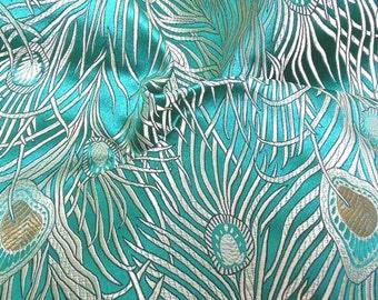 Chinese Silk Brocade Fabric peacock motif Machine Embroidery Embroidered Dress Material Asian Oriental  0.5 or Full Yard / Meter (cbs1)