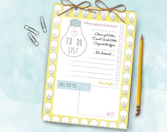 Bright Ideas Bulb A5 Daily Organiser Notepad and To Do List