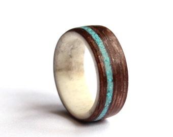 Mens Antler Ring, Women Wedding Ring, Turquise and Antler Ring, Natural Wood  Wedding band, Wenge Wood Ring