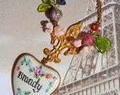 Antique Hand Painted Porcelain Liquor Decanter Labels Vintage Glass Flowers Art Glass Beaded Necklaces