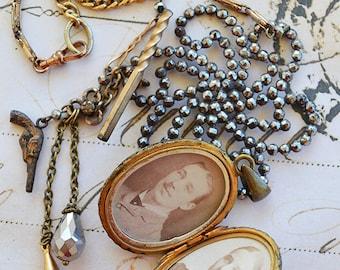 1800s Picture Locket ANNIE Victorian Cut Steel Watch Chain Charm Necklace