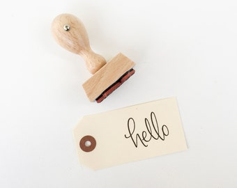 Hello Rubber Stamp - Calligraphy Rubber Stamp - Hello stamp - tag stamp - hand lettered stamp - hello - gift tag stamp - snail mail - K0050
