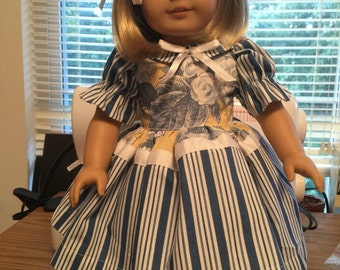 Fifties style flowers and stripes dress for American Girl type dolls
