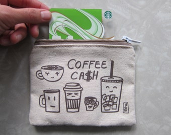 Coffee Cash coin pouch/ perfect way to package a gift card/ coffee addict/ foodie/ illustration/ food drawings/ latte/espresso/ hipster