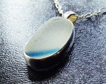 Cobalt Stripe English Sea Glass Pendant - Authentic Sea Glass Bezel Jewelry