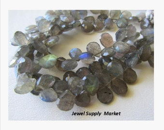 1/2 strand 20pcs-5mm shimmering labrodorite briolette faceted teardrops, florescent beads, grey labrodorite