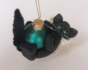 Black Cat Christmas Ornament Polymer Clay Art Sculpture Handcrafted