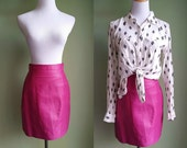 1980's Crazy For You Skirt - Magenta Leather Mini Skirt - Small