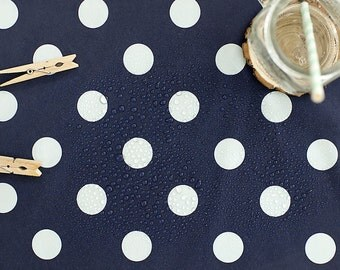Waterproof Fabric 2.7 cm White Dots on Navy - By the Yard 89611