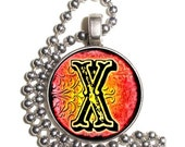 """Letter """"X"""" Art Pendant, Alphabet Resin Pendant, Vintage Initial  Photo, Silver Nickel Coin Charm Necklace"""