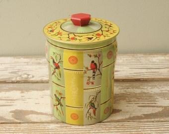 Mid Century Asian Bird Tin Handle ENGLAND