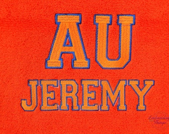 Personalized Beach towel  (100% terry velour) or bath towel,  In your school colors.  Great for college granduates