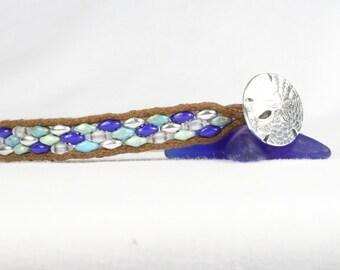 Woman's beaded bracelet, Super duo beads, Beach theme, Sand dollar button, CarolMade Sw85