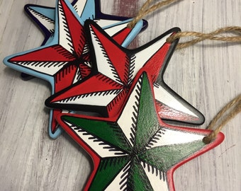 Nautical tattoo style hand painted Christmas Ornaments