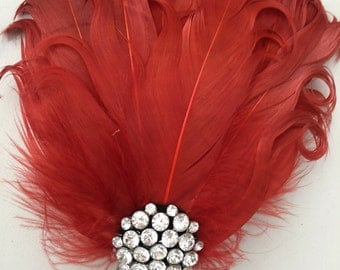 Burnt orange feather hair comb , Curly feathers -Wedding hair-1920s flapper style -Bridal Hair Accessories , wedding