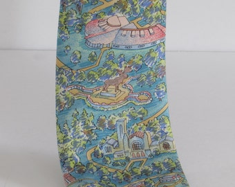 Kitschy Moose Tie - 100% Silk - Colorful - Retro - Whimsical - Fun - Kitsch Mens Dress Apparel - Necktie - Neckware Accessory
