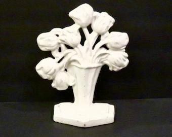 Cast Iron White Flower Basket Doorstop / Bookend Cottage Chic, Paris Apartment