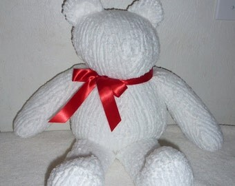 "Handmade 20"" Vintage Chenille Christmas Bear with Red Bow"