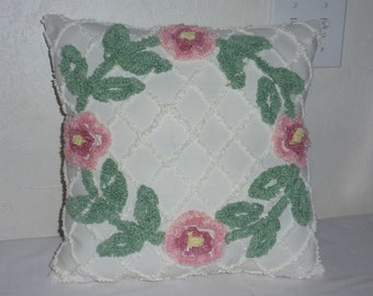 Vintage Chenille Floral Pillow Made from Vintage Chenille Cutter Spread