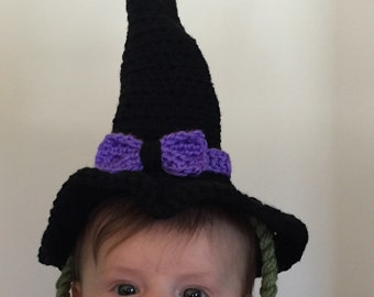 Crochet Witch Hat with Green Hair
