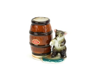 Vintage Bear Toothpick Holder, Bone China, Bear Figurine, Toothpick Holder, Toothpick Jar, Woodland Table, Travel Souvenir, Epsteam