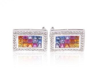 Multicolor Rainbow Sapphire & Diamond 18K Gold Earrings (3.66ct tw) SKU: 19226