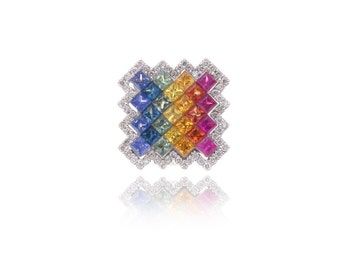 Multicolor Rainbow Sapphire & Diamond Pendant 14K Gold (2.75ct tw) SKU: 22469