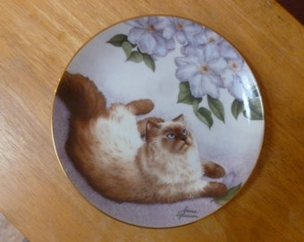 Vtg 1989 Cats and Flowers plate by Irene Spencer Bird's Eye View Danbury Mint