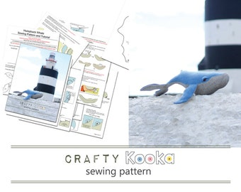 Printed sewing pattern of our humpback whale stuffed animal pattern