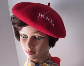 Red PARIS BERET' 1970's wool High Fashion Retro Tam Hat Costume vintage  French
