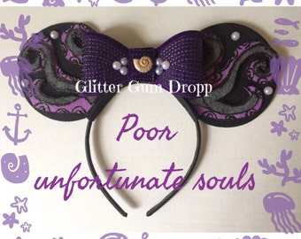 Ursula Poor Unfortunate Soul Minnie Mouse Ear with Purple Sequin Bow Headband for Children to Adult