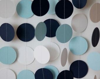 Pastel Blue, Navy & White Paper Garland, Boy's Blue Birthday Party, Blue Baby Shower Decor, Birthday Decoration, 10 ft. strand