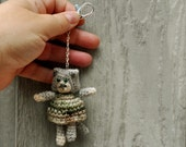 Purse charm/keychain/planner charm/zipper pull charm - crochet kitty with green dress