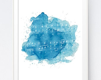 Blue Watercolor Music Art Print, Partiture Blue Decor, Abstract Watercolor Painting, Music Wall Decor, Musical Home Decor, INSTANT DOWNLOAD