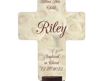 Personalized Bless This Child White Rose Cross