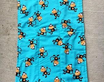 Teal Monkey Burp Cloth