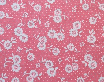 One Yard of Vintage Sheet Fabric - White Floral on Pink - 1 yd