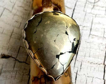 RING Sterling Silver Guitar Pick Shaped Pyrite Ring