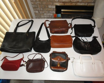Lot Of 10 Vintage Leather Bags Dooney & Bourke, White Bag, 8 COACH Bags (9975, 9844, 9020, 7592, 9170, 9925, 2 Pre-Creed New York City Bags)