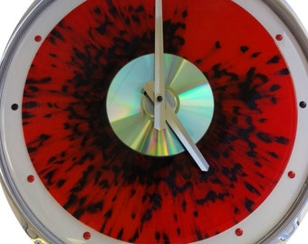 """14"""" Drum Skin & Hoop- Clock w/ Red and Black splattered 33 record, a CD and Red LED lights!!"""
