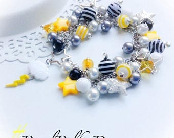 Pearl Cluster Bracelet OOAK Star Zeus Cloud Lightning Statement Jewelry On Sale