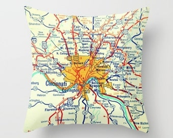 Custom Ohio Map Pillow Cover, Any City Ohio Gifts, Toledo Dayton, Cleveland OH Lake Erie Map Pillow Port Clinton Cincinnati Map Pillow Cover