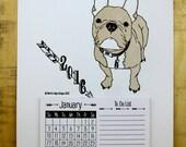 2016 Calendar - Cream Frenchie, Letterpress Printed