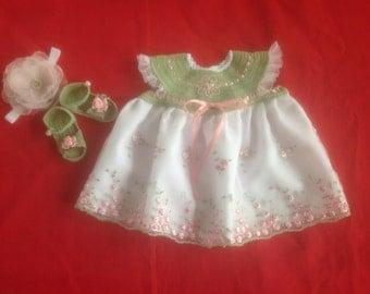 Crochet Newborn Baby Girl Dress Set - Mint Green & Pink