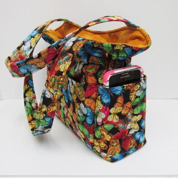 gold multi butterfly shoulder bag travel handbag quilted. Black Bedroom Furniture Sets. Home Design Ideas