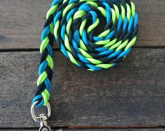 Dog Leash Flat Braid Tri Colours