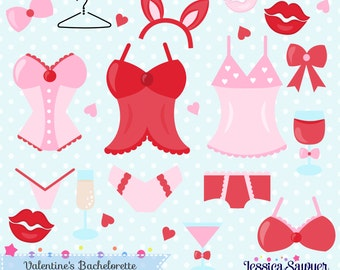 INSTANT DOWNLOAD, valentines lingerie clipart or bachelorette clip art and vectors for crafts and products